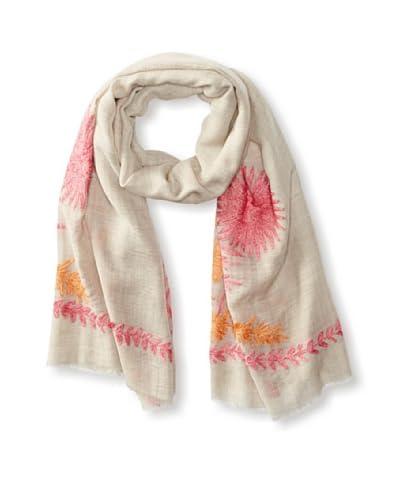 Carolina Amato Women's 2-Tone Floral Scarf, Beige/Pink