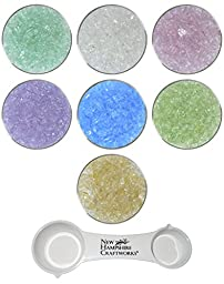 Irresistible Iridescents Collection and NHC Measuring Spoon Set - 7 Colors, 96 COE, Uroboros Glass Coarse Frit Sampler Pack