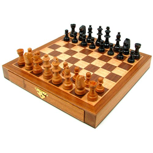 Elegant Inlaid Wood Cabinet With Staunton Wood Chessmen Brown front-409887