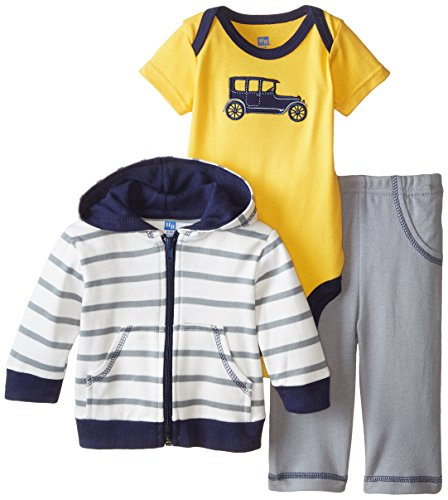 Hudson Baby Baby-Boys 3 Piece Car Hoodie Bodysuit and Pant