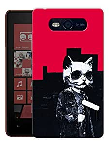 """Humor Gang Pussy Cat Hippie Printed Designer Mobile Back Cover For """"Nokia Lumia 820"""" (3D, Matte, Premium Quality Snap On Case)"""