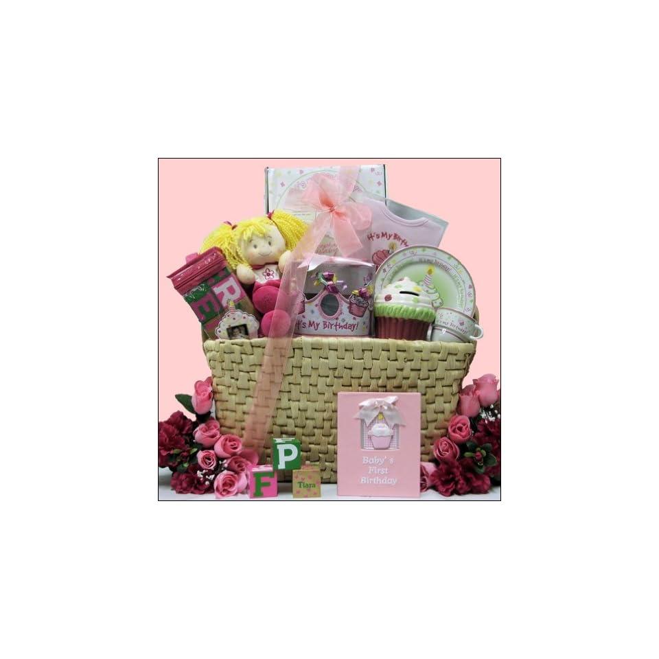 Babys 1st Birthday Girl Large Baby Gift Basket