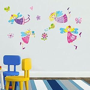 ufengke® Encantadora Hada de Las Flores Pegatinas de Pared, Vivero Habitación de Los Niños Removible Etiquetas de La Pared / Murales - BebeHogar.com