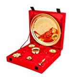 VESPL Festival Gifts Traditional Golden Color Plated Brass Pooja Thali for poja and Gifting purpose