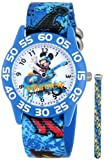 Disney Kids' W001178 Interchangeable Strap Mickey Mouse Plastic Stretch Nylon Watch Set