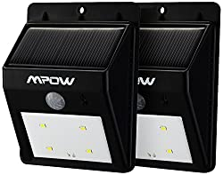 See MPOW 2 Pack 4 LED Solar Powered Wireless Security Motion Sensor Light Details