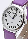 Ladies Easy Read, Large Purple Watch With Extra Long 16-21cm Strap (R0105.13.7)