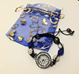Shamballa Bracelet Watches Swarovski Watch Crystal Beads 10mm BLUE & SILVER with Gift Bag
