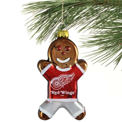 NHL Detroit Red Wings Blown Glass Gingerbread