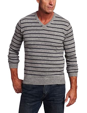 Williams Cashmere Men's 100% Cashmere Thin V-Neck sweater, Heather Grey/Teal Grey, Small