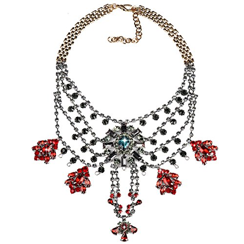 Houda Multi Layers Diamante Chain Jewelry Elegant Clear Crystal Flower Fringe Pendant Statement Necklace