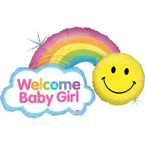 "Welcome Baby Girl Smiley Rainbow 45"" Mylar Foil Balloon"