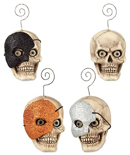 Set of 3 Bethany Lowe Masquerade Skull Ornament/Placecard Holders