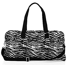 Victoria's Secret Sold Out Pink Zebra Black and Silver Monogram Carry on Weekender Duffle Bag