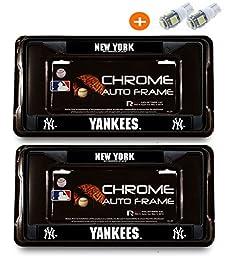 MLB New York Yankees (2X Black Metal License Plate + Bonus 2 Led Bulbs) Frame