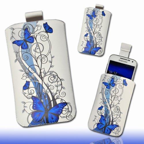 Handy Tasche Hülle Case weiß / blau Butterfly DK3 Gr.3 für Samsung C3312 Rex60 / S5222R Rex80 / Galaxy Young S6310 / Galaxy Young Duos S6312 / Galaxy Pocket Plus S5301 / Samsung Galaxy Pocket Neo S5310 / Alcatel OT 903D / Alcatel OT Star 6010D