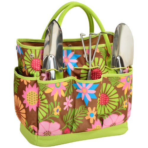 Picnic at ascot garden tote and tools set for Gardening tools gift basket