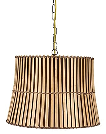 Upgradelights Bamboo Swag Lamp Lighting Fixture Hanging Plug-in