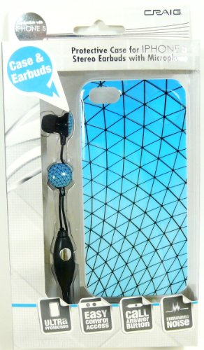 Craig Protective Case & Stereo Earbuds With Microphone - Iphone 5 (Net-Light Blue)