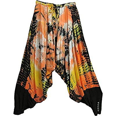Indian Bohemian Gypsy Hippie Meditation Yoga Gauze Tie-Dye Harem Pants #3