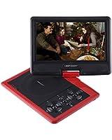 """DBPOWER® 9.5"""" Lecteur DVD Portable avec écran orientable, compatibilité carte SD et interface USB, lit directement les formats MP4, AVI, RMVB, MP3 et JPEG(Rouge, 9.5'')"""