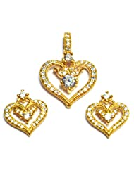 M Gold Designer 18k Gold Plated Diamond Pendant Set White PS83GP For Women