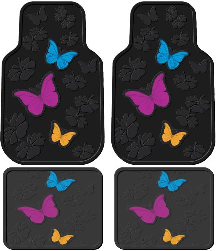 Front & Rear Seat Car Truck Suv Rubber Floor Mats - Charming Butterflies W/ Flowers