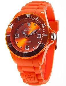 DETOMASO Unisexuhr Quarz Kunststoffgehäuse Silikonarmband Mineralglas COLORATO L Silikon Trend orange/orange DT2012-H