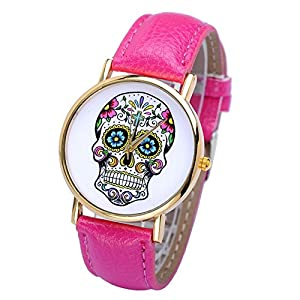 Smartbargain 33mm Women's Golden Day of Dead Sugar Skull Cross Quartz Analog Wrist Watch (Fuchsia) by Smartbargain
