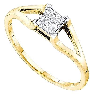 0.15 Carat (ctw) 14K Yellow Gold Princess Cut Diamond Ladies Invisible Engagement Ring