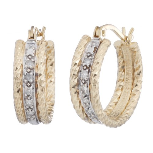 1/10 CT. Diamond Hoop Earrings In Sterling Silver With Gold Plating
