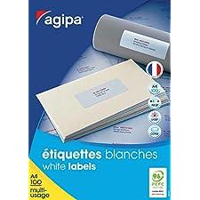 AGIPA Lot de 5 Boites 1600 étiquettes 105x35 mm (16 sur 100F A4) Multi-usage Coins Droit Permanent Blanc