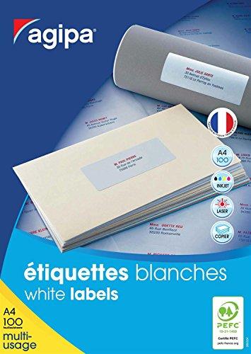 AGIPA Lot de 10 Boites 800 étiquettes 105x70 mm (8 sur 100F A4) Multi-usage Coins Droit Permanent Blanc