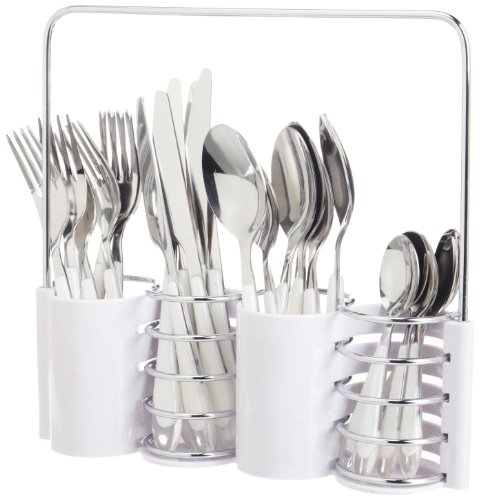 Lebrun French Flatware 24-Piece Candela Decor Flatware Set, French White