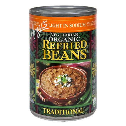 Amy's Light in Sodium Organic Traditional Refried Beans, 15.4-Ounce Cans (Pack of 12)