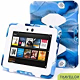 "Kindle Fire HD 7"" Cover Case New Hot Item High Quality Slim Fit Silicone Plastic Dual Protective Back Cover Standing Case Kid Proof Case for Amazon Kindle Fire HD 7 Inch(will Only Fit Kindle Fire HD 7"")-multiple Color Options (Camo Blue/White)"
