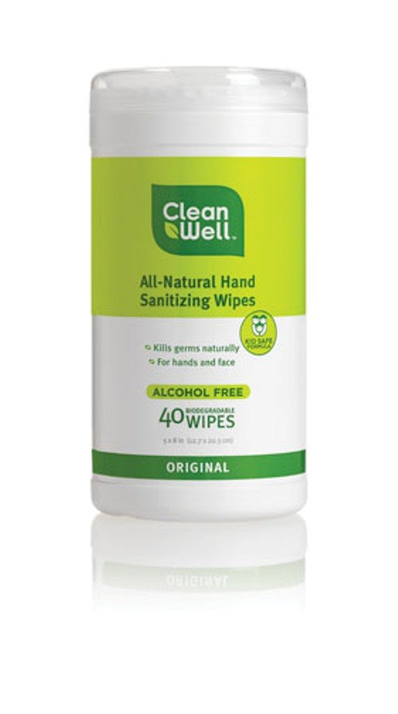 Cleanwell All-Natural Hand Sanitizing Wipes 40