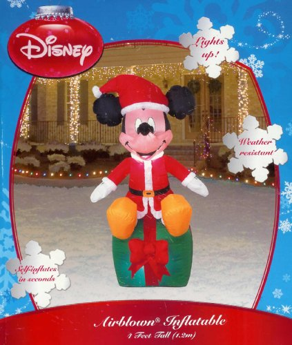 Disney Mickey on Present 4 Ft Christmas Inflatable