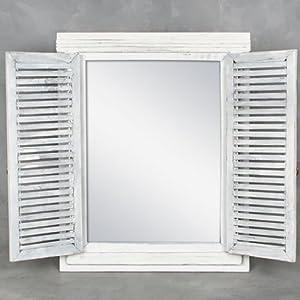 cottage spiegel wandspiegel holz lamellen t ren 50x40cm. Black Bedroom Furniture Sets. Home Design Ideas