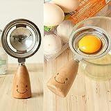 Vktech® Stainless Steel Egg White Separator Divider Breakfast Tool Wooden Handle