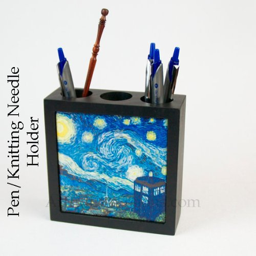 Doctor Who Pen Holder Pencil Box Desk Accessory Van Gogh Starry Night