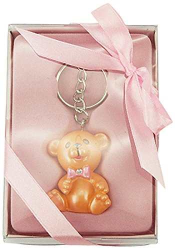 Firefly Imports Baby Shower Party Favor Polyresin Baby Teddy Bear Key Chain, Light Pink