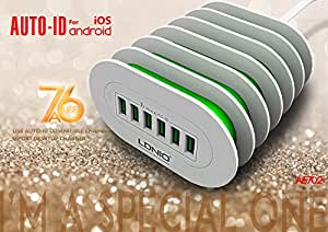 WireSwipe™(1.5Meter) LDNIO 6 Usb 7A Universal Charger auto-ID compatible Charger 6-Prot For Desktop Charger, Mobile Charger for iPhone, Android Devices( White With Green Shade)