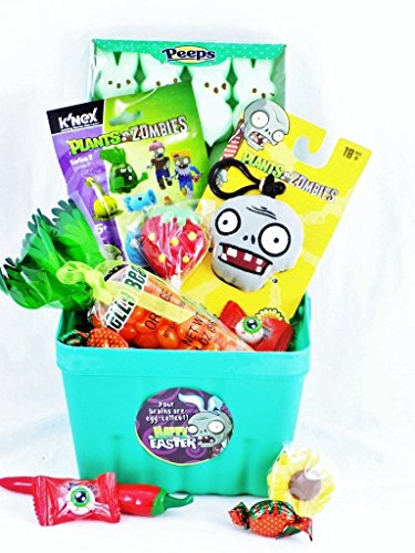 Plants Vs Zombies Toy and Candy Easter Gift Basket 'Your Brains Are Egg-cellent!'