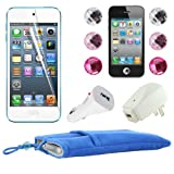 Skque 5 Inch Blue Soft Sleeve Cloth Pouch Velvet Case + Clear Screen Protector Cover + USB 1000mAh Home/Travel Wall Charger + Rapid Car Charger + 6 Pcs Bling Diamond Crystal Style Home Button Sticker for Apple iPod Touch 5th Generation