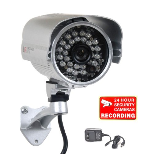 VideoSecu Outdoor Day Night Security Camera Infrared Weatherproof CCTV Home 1/3″ CCD 420 TV Lines 28 IR LEDs Wide View Angle Lens with Free Power Supply A71