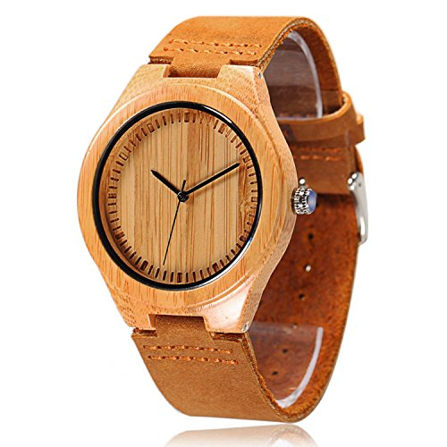 CUCOL Mens Bamboo Wooden Watches Genuine Leather Strap Watch Japanese Quartz Movement Gift For Groomsmen
