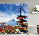 Ambesonne Asian Decor Collection, Mt Fuji with Chureito Pagoda in Autumn Fujiyoshida Japan Travel Destinations Image, Polyester Fabric Bathroom Shower Curtain Set with Hooks, Teal Orange Blue
