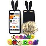 Apple iPod Touch 5 (iTouch 5th Generation) Bunny Soft Skin Case + 1 Fruity Dust Plug, Black with Brown Tail [Cellular Connection Packaging]