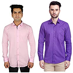 Nimegh Pink, Purple Color Cotton Casual Slim fit Shirt For men's (Pack of 2)